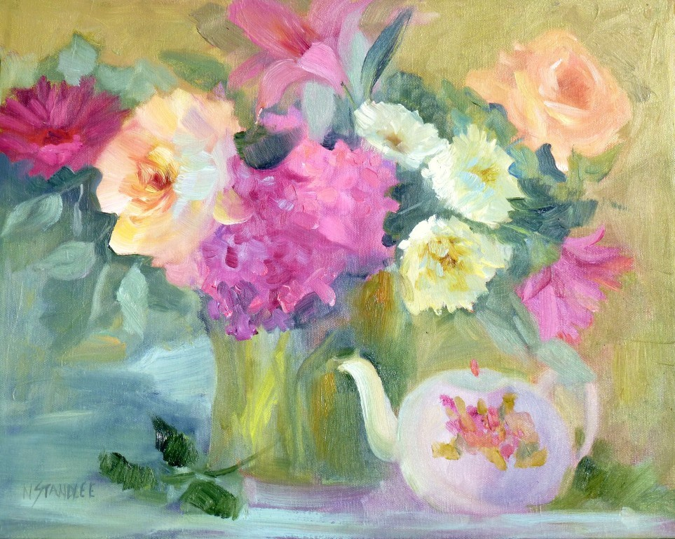 """Roses and Teapot 14021"" original fine art by Nancy Standlee"