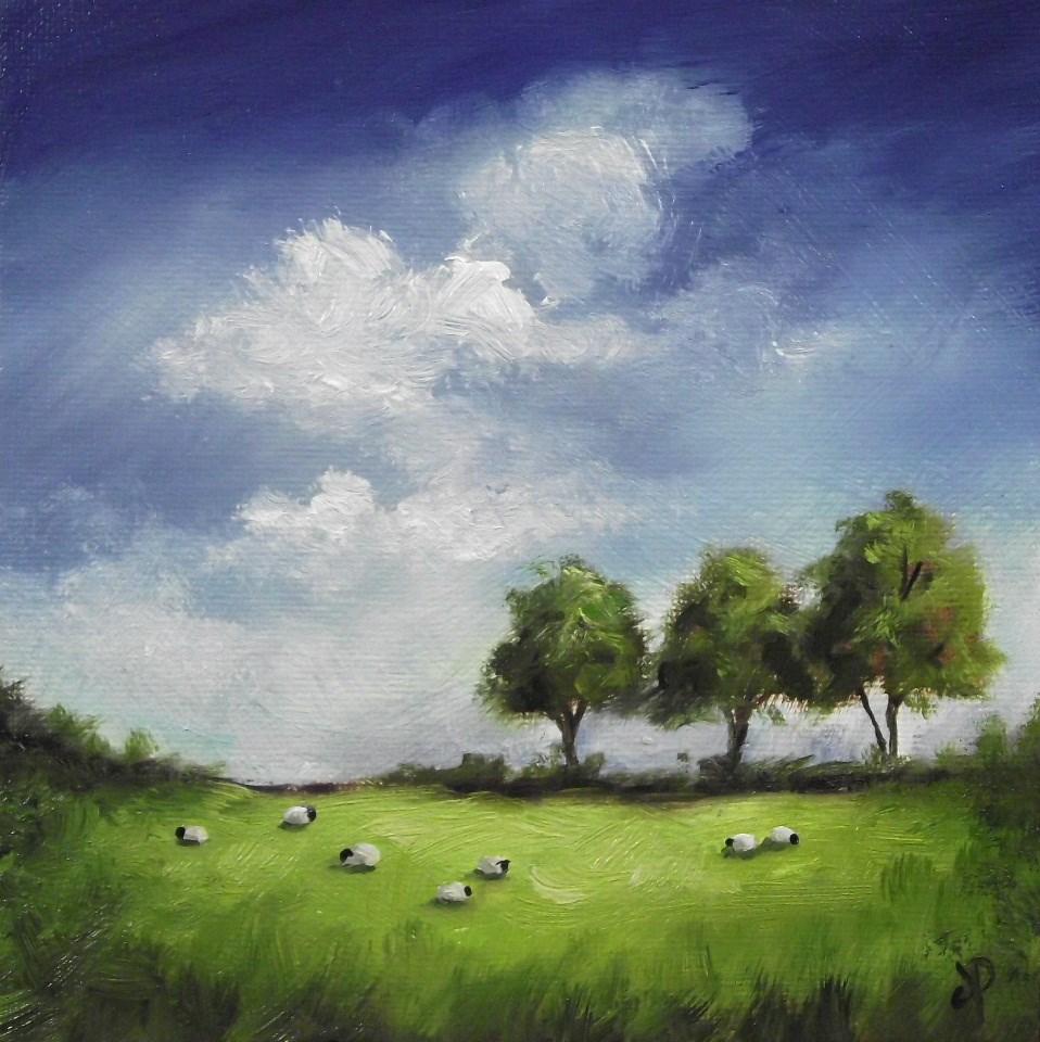 """Three trees and sheep"" original fine art by Jane Palmer"