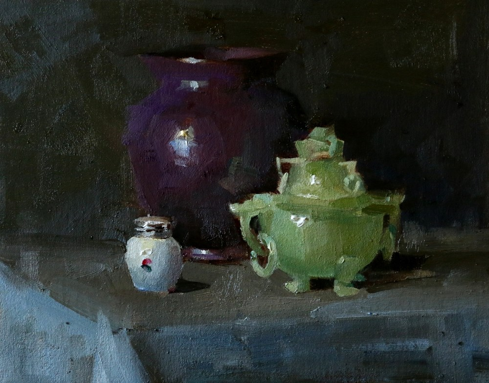 """""Purple and Green"" original fine art by Qiang Huang"