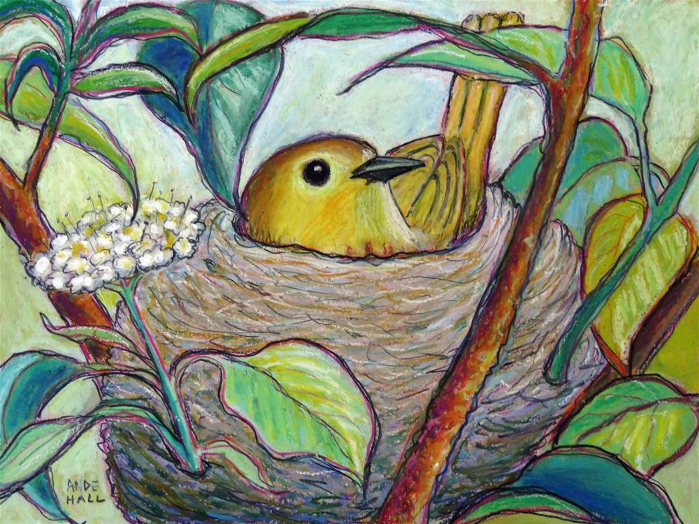 """""""Yellow Warbler on Nest"""" original fine art by Ande Hall"""