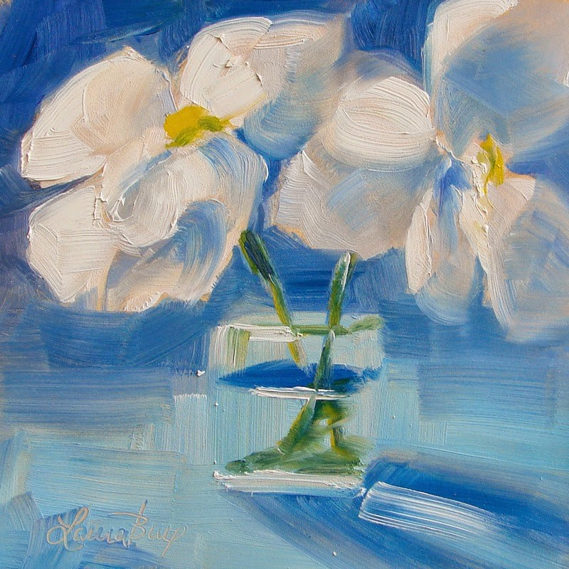 """Blue and White 205"" original fine art by Laura  Buxo"