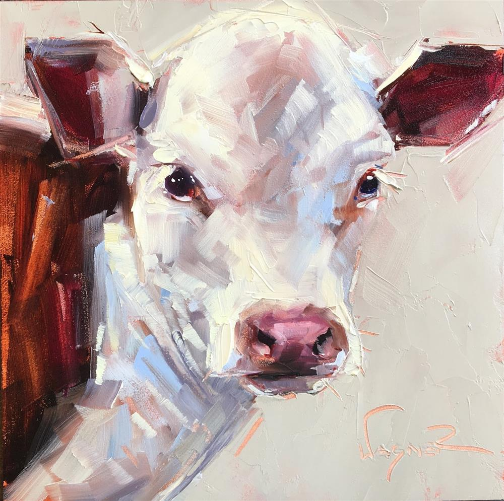 """""""ORIGINAL CONTEMPORARY COW PAINTING in OILS by OLGA WAGNER - 12 DAYS OF GREY"""" original fine art by Olga Wagner"""