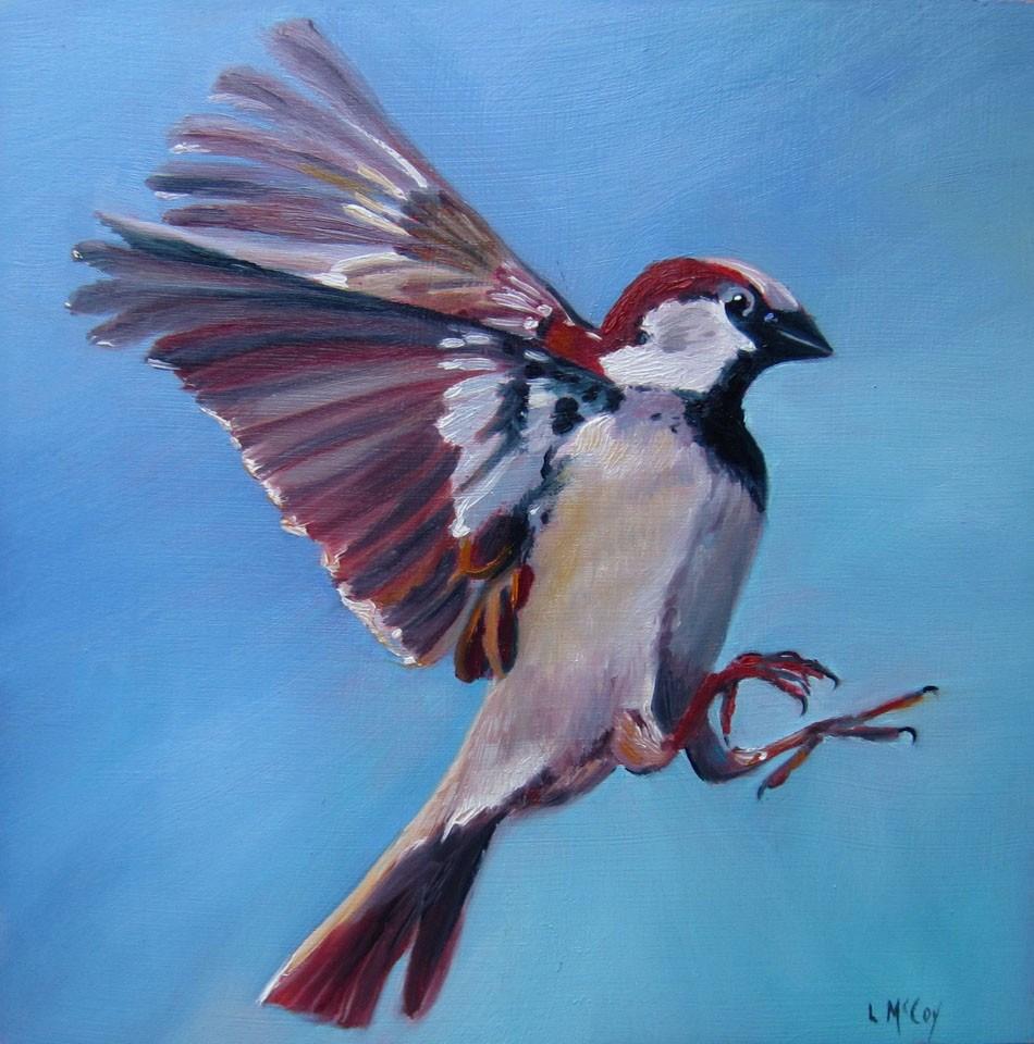 """Sparrow Bird in Flight, by Linda McCoy"" original fine art by Linda McCoy"