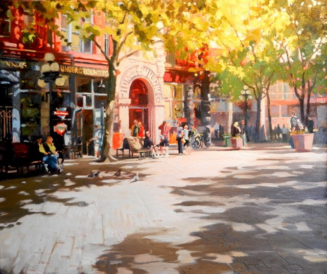 """""""Pioneer Building Seattle city, urban oil painting by Robin Weiss."""" original fine art by Robin Weiss"""