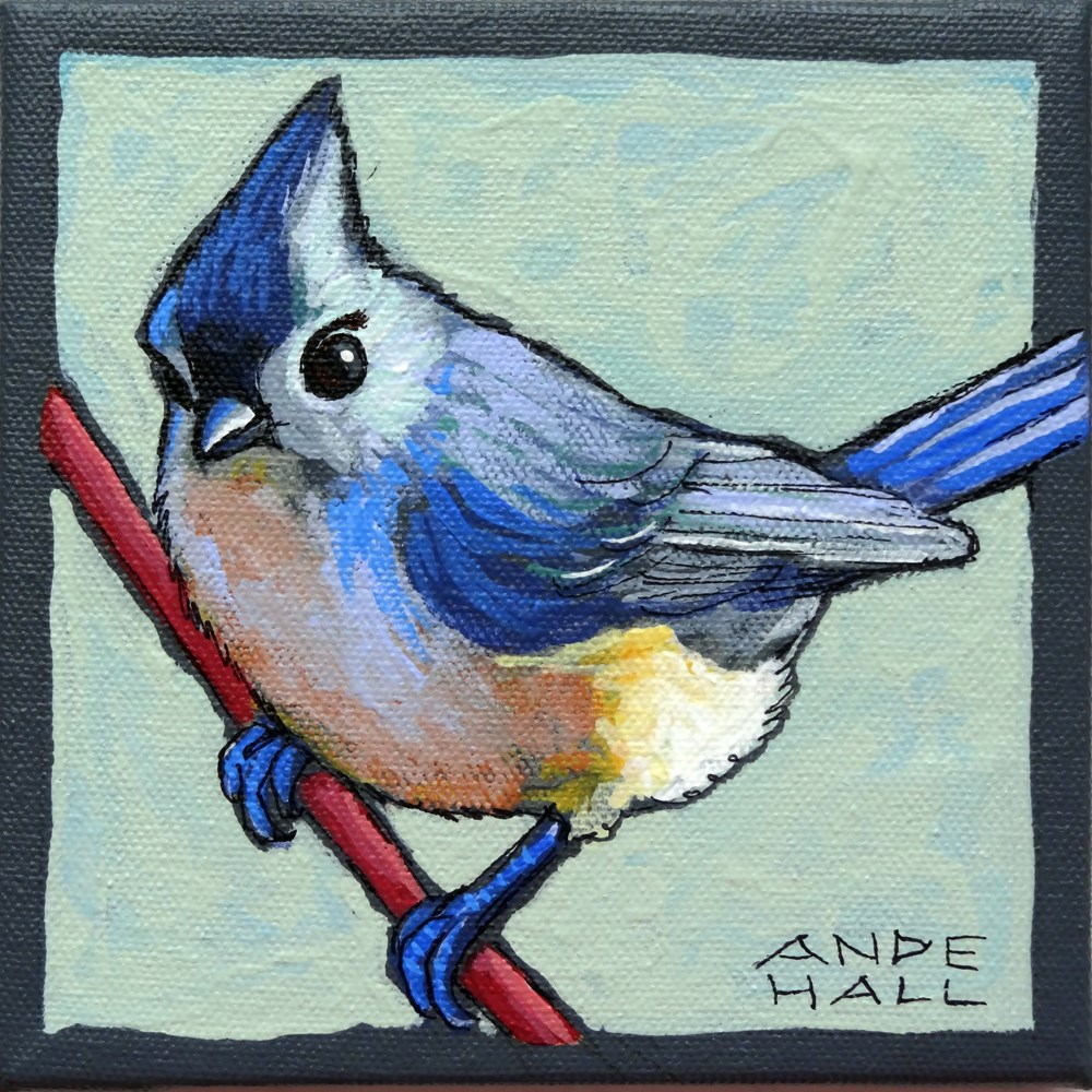 """""""Tufted Titmouse Two"""" original fine art by Ande Hall"""