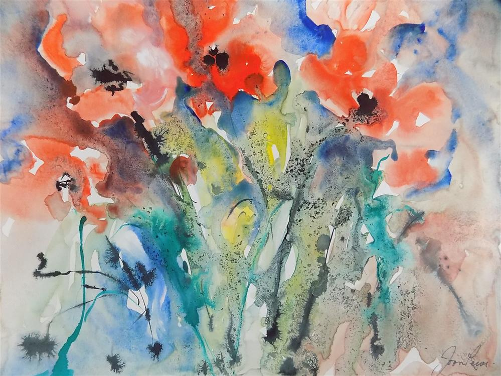 """Dancing Poppies"" original fine art by Joan Reive"