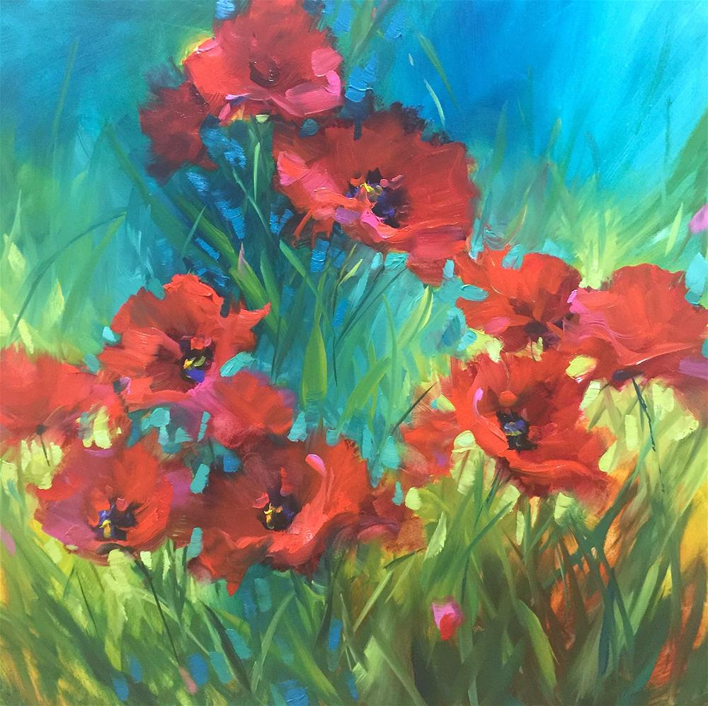 """Run Wild Red Poppies"" original fine art by Nancy Medina"