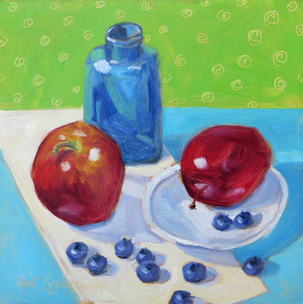 """Apples and Blueberries"" original fine art by Rhett Regina Owings"