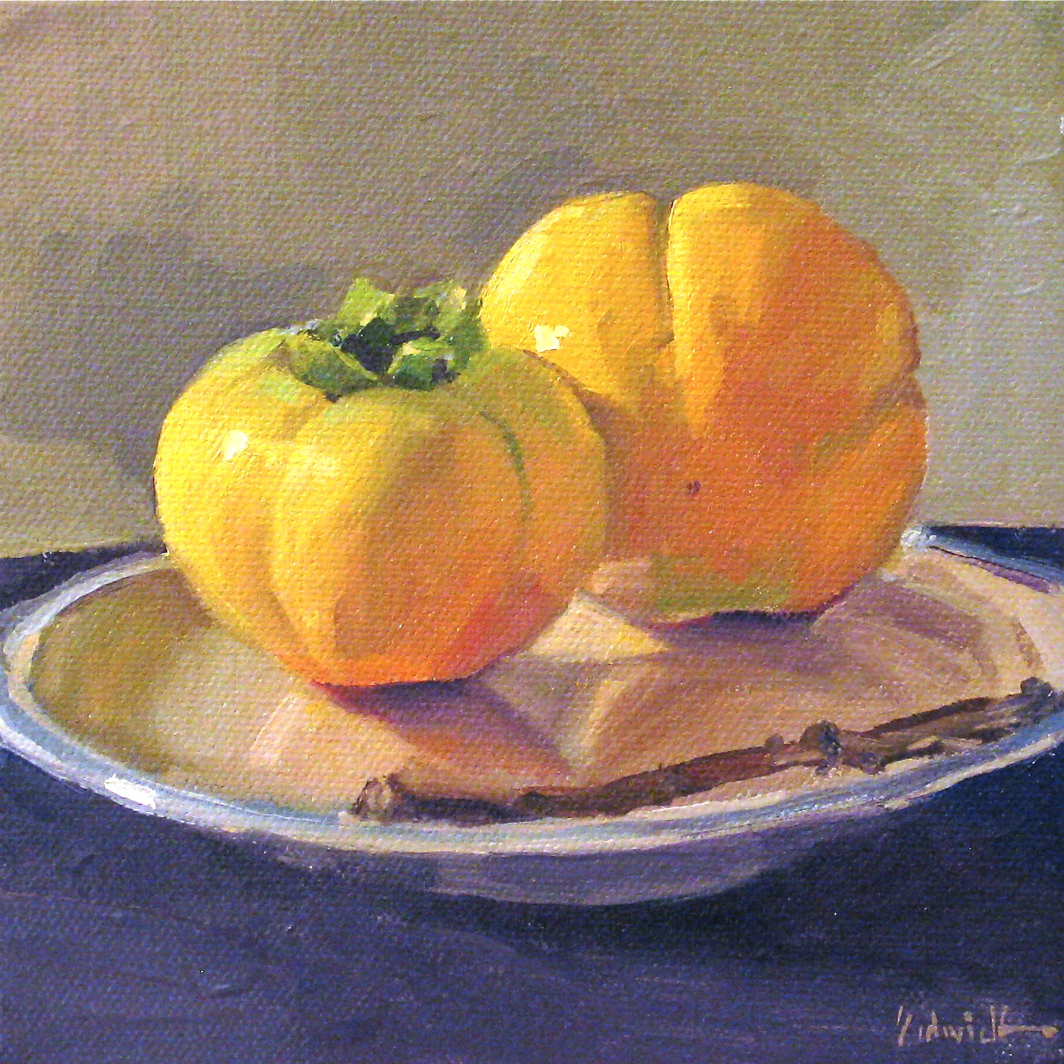 """""""Persimmons with a Branch"""" original fine art by Sarah Sedwick"""