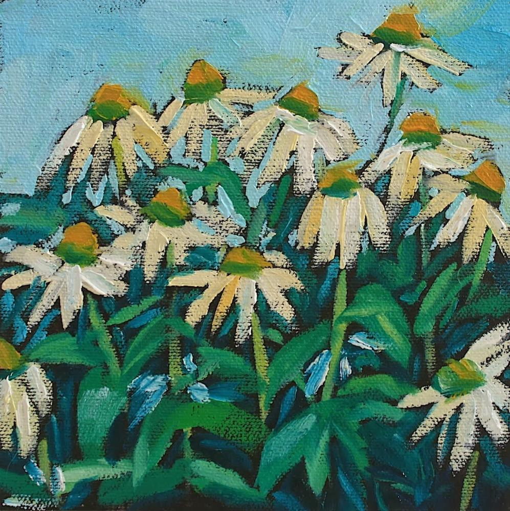 """""""White Echinacea"""" original fine art by Mary Anne Cary"""
