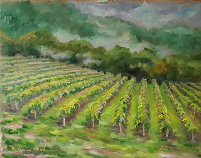 """Mist Rising Over the Vineyard"" original fine art by Tammie Dickerson"