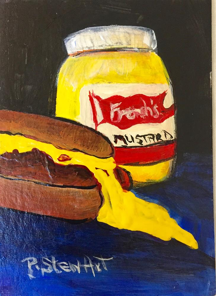 """ACEO No Such Thing as Too Much Mustard Acrylic Food Art Painting"" original fine art by Penny Lee StewArt"