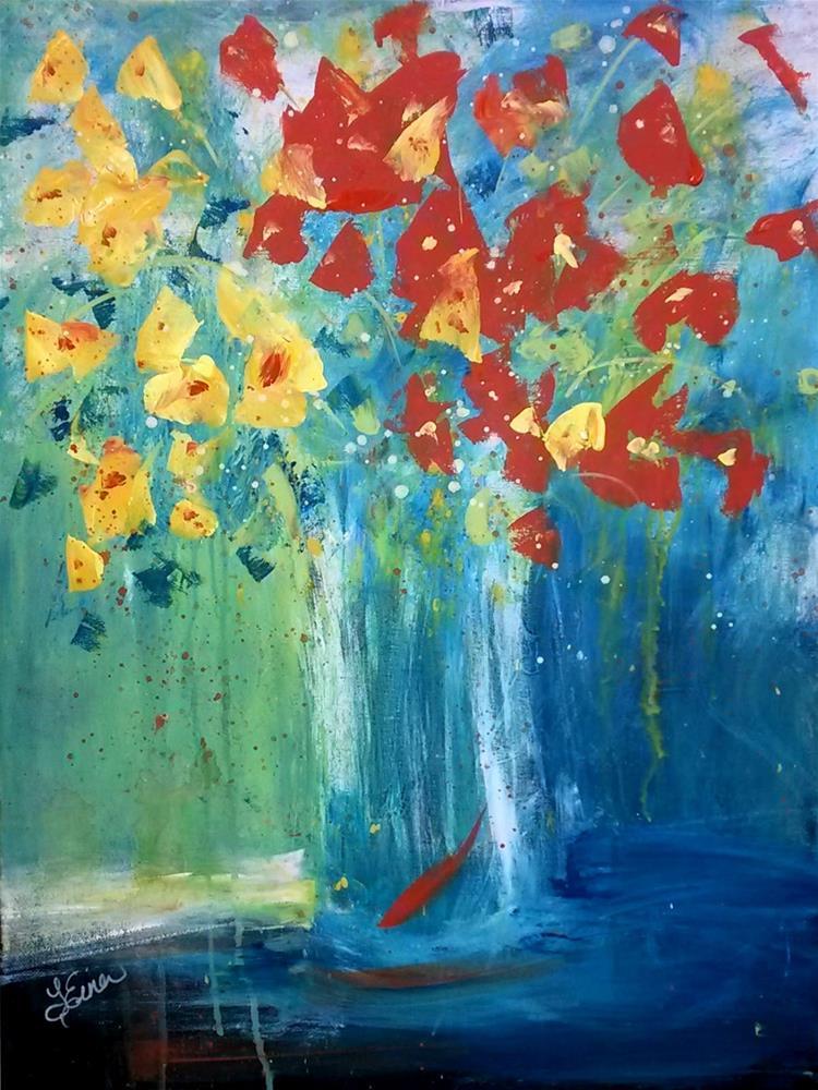 """""""Floral Spray, Day 28, 30 in 30"""" original fine art by Terri Einer"""