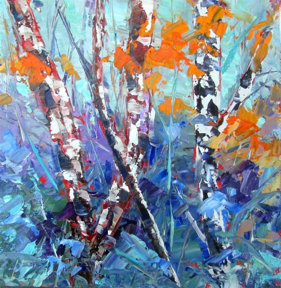 """""""8 x 8 inch oil Little Birches #8"""" original fine art by Linda Yurgensen"""