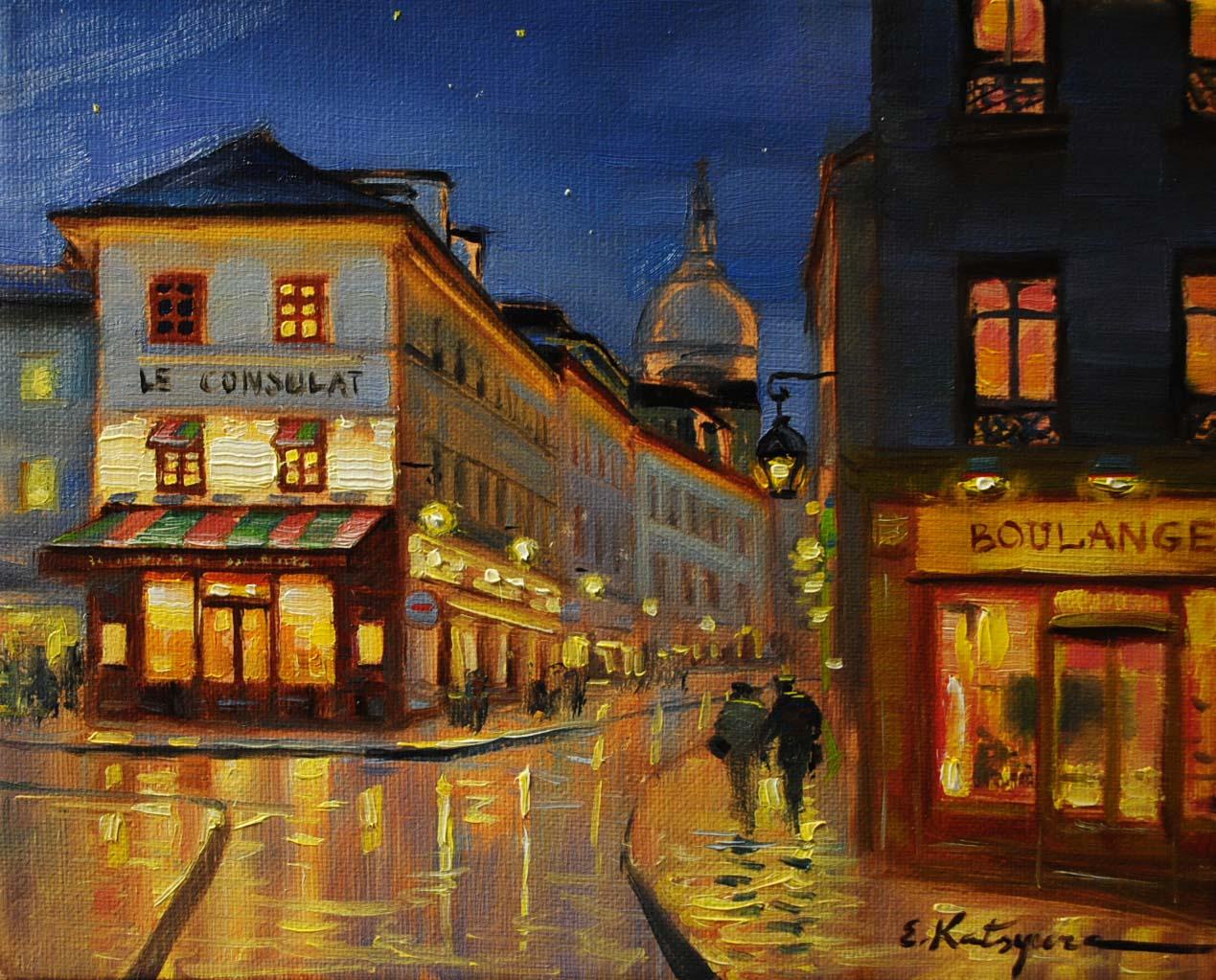 """""""Corner Shop in Paris"""" original fine art by Elena Katsyura"""