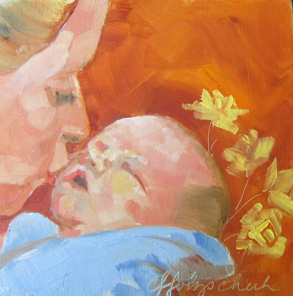 """Aiden  4x4 oil sold"" original fine art by Christine Holzschuh"