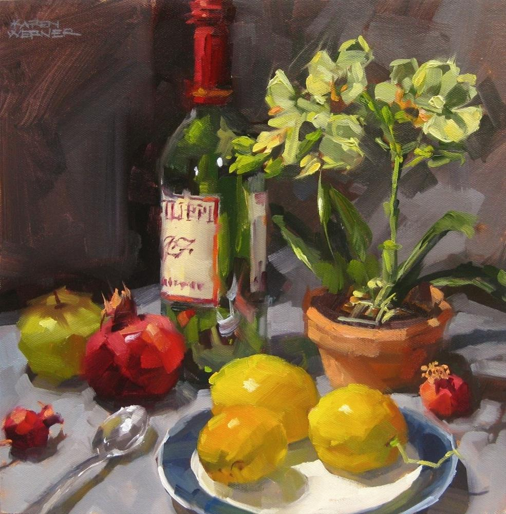 """Still Life With Lemons and Orchids"" original fine art by Karen Werner"