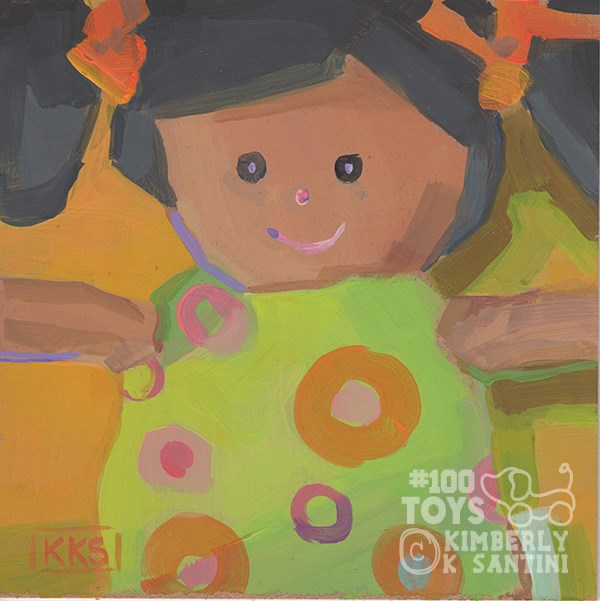 """""""Dollar Store Dolly I, Toy #26 of 100 Toys"""" original fine art by Kimberly Santini"""