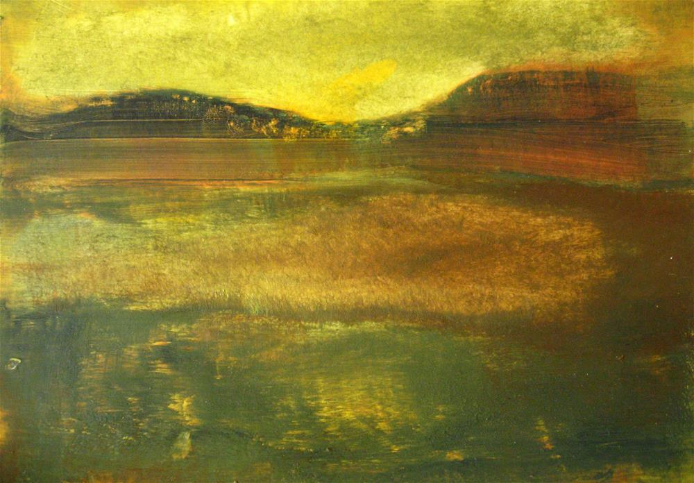 """""""Yellow Green Brown Abstract Landscape"""" original fine art by Alina Frent"""