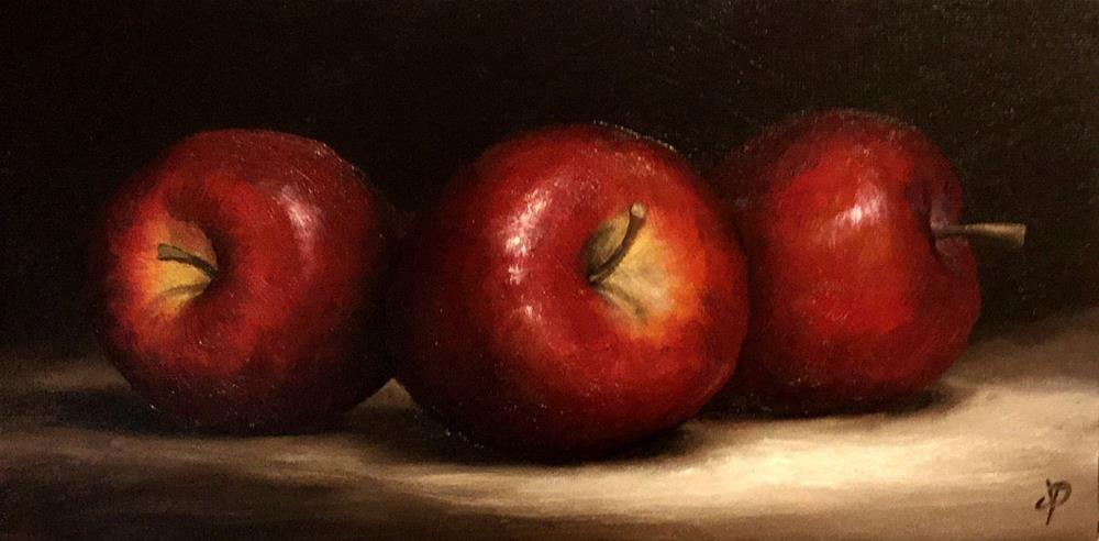 """Three Red apples"" original fine art by Jane Palmer"