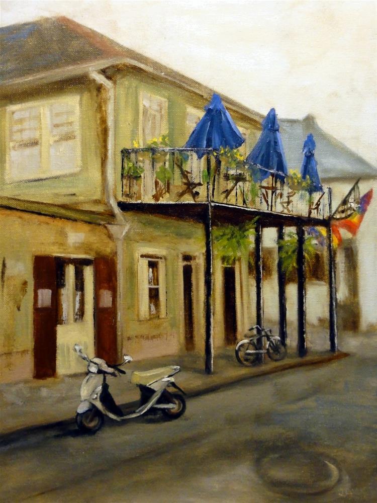 """Scooter Over And Meet Me Under The Blue Umbrellas"" original fine art by Dalan Wells"