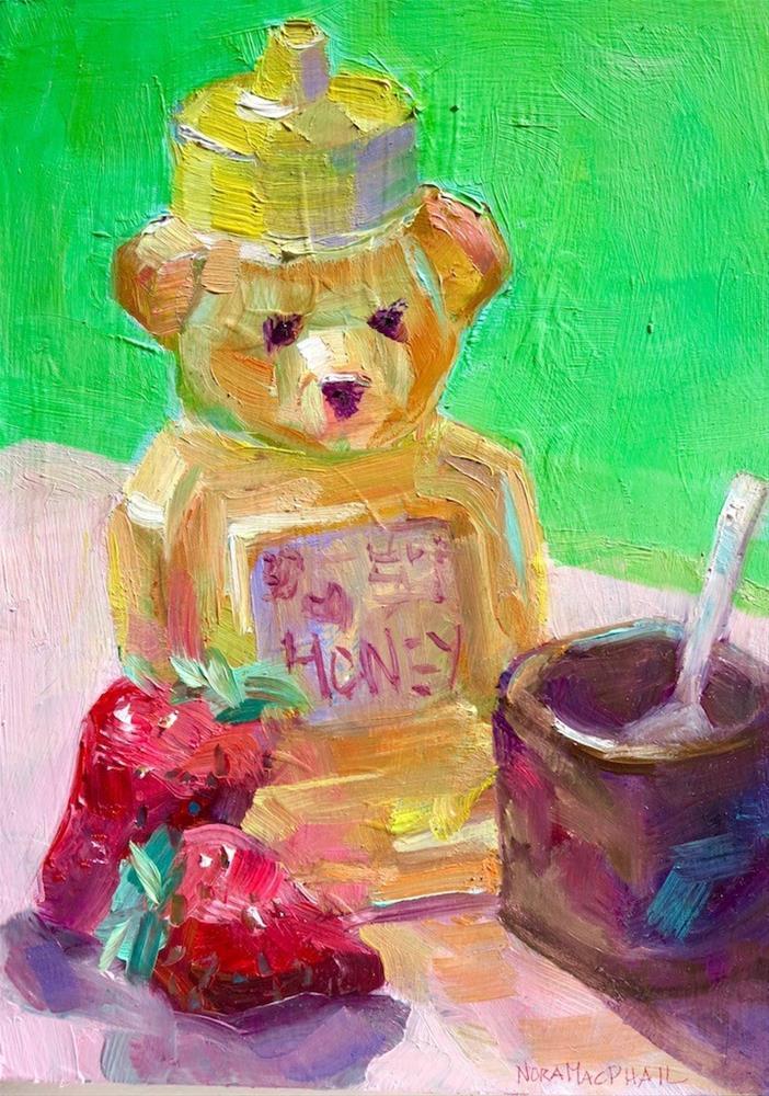 """""""honey bear n' berries"""" original fine art by Nora MacPhail"""