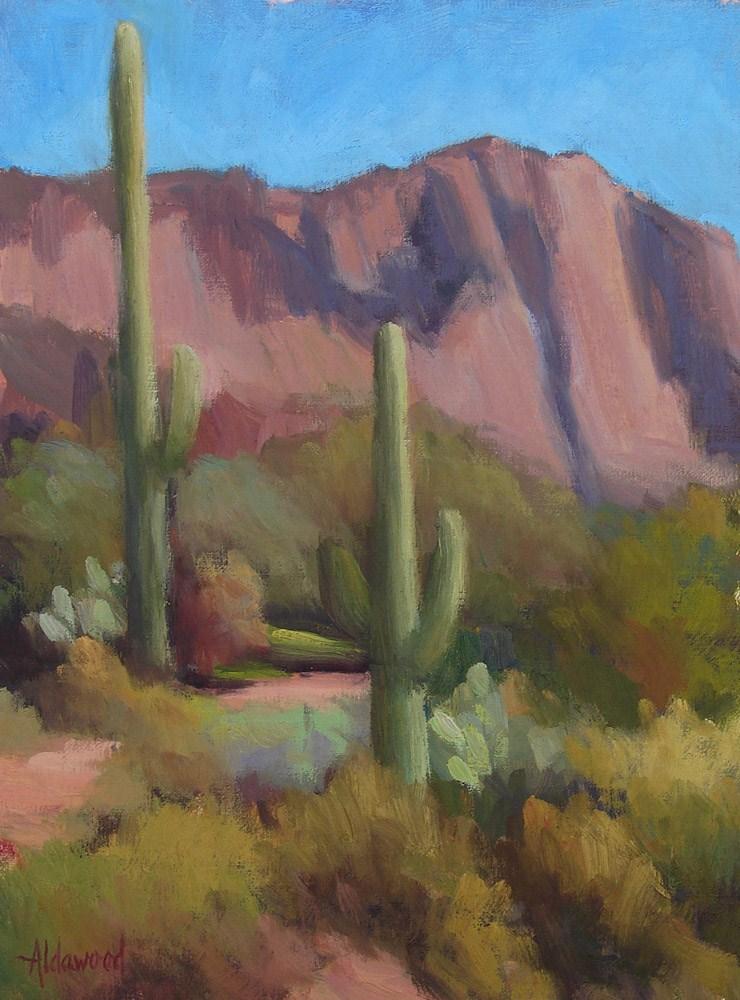 """Trail Between Two Saguaros"" original fine art by Sherri Aldawood"