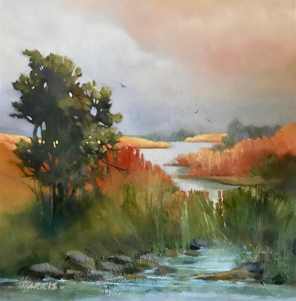 """Salmon Creek"" original fine art by Helen Harris"