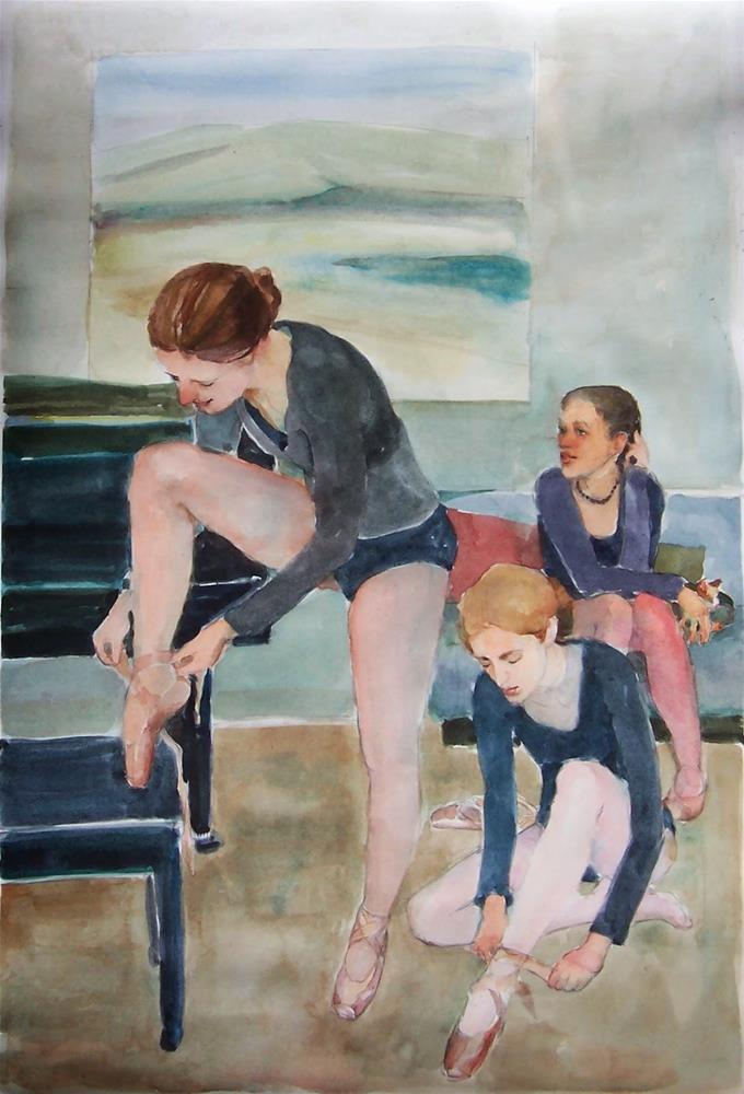 """Almost Ready,figures,watercolor,22x15,price$250"" original fine art by Joy Olney"