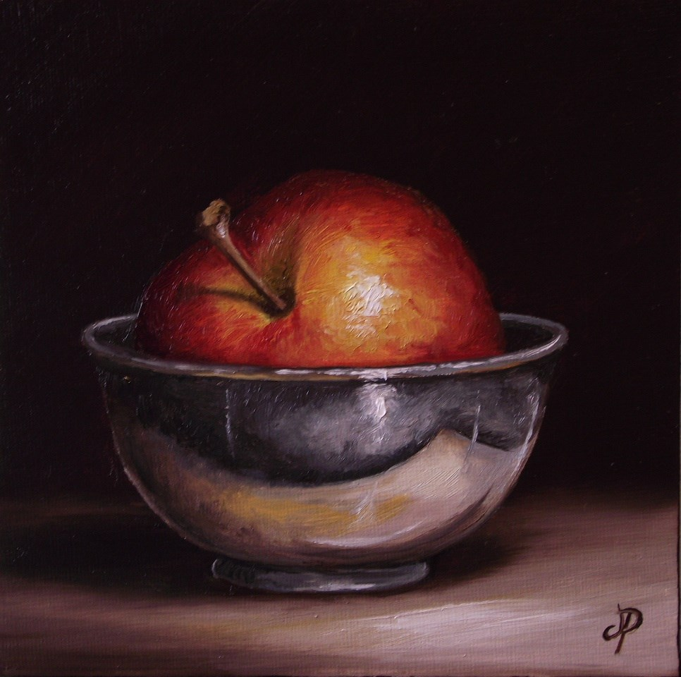 """Apple in Silver"" original fine art by Jane Palmer"