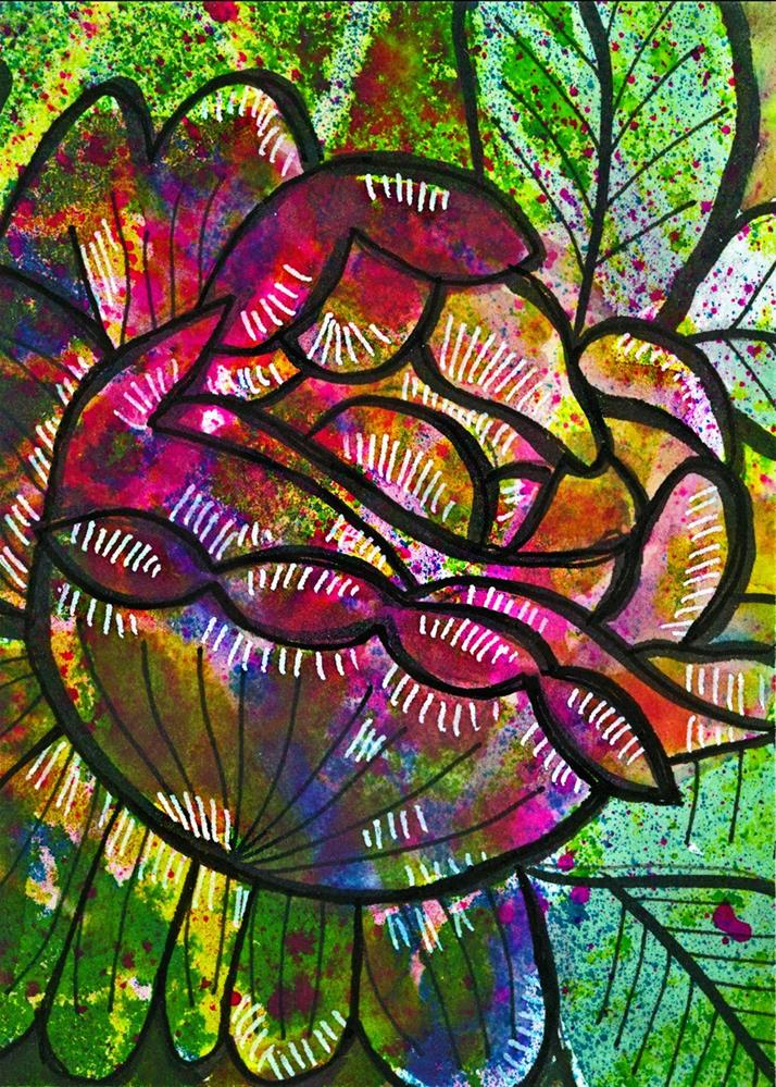"""Cabbage Rose 1"" original fine art by Tonya Doughty"