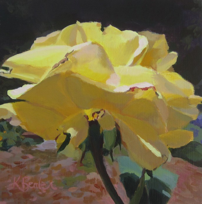 """Big Yellow Rose"" original fine art by Kaethe Bealer"