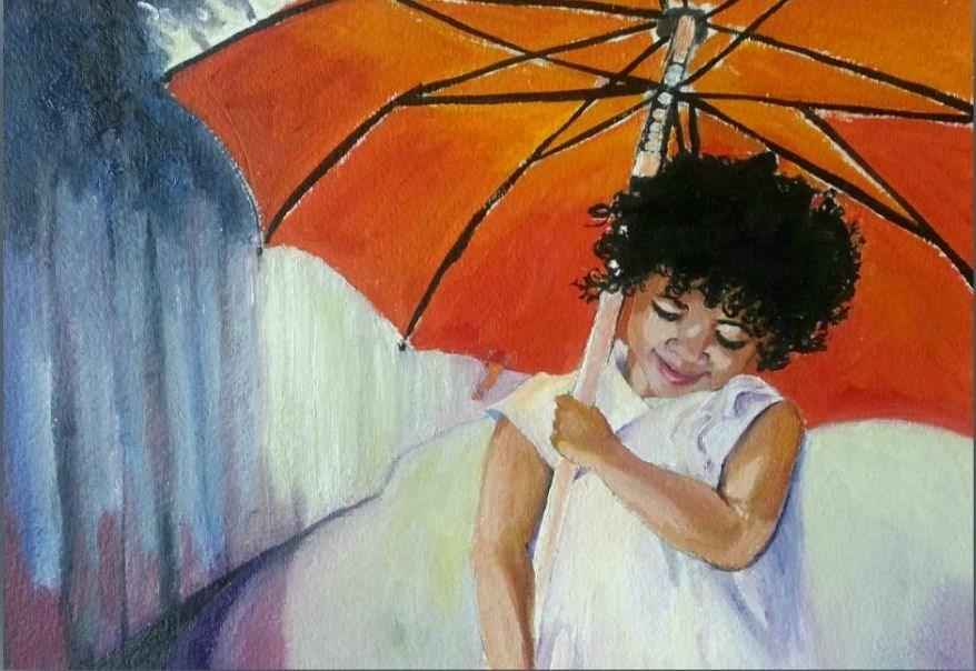 """Little Red Umbrella"" original fine art by Dana C"