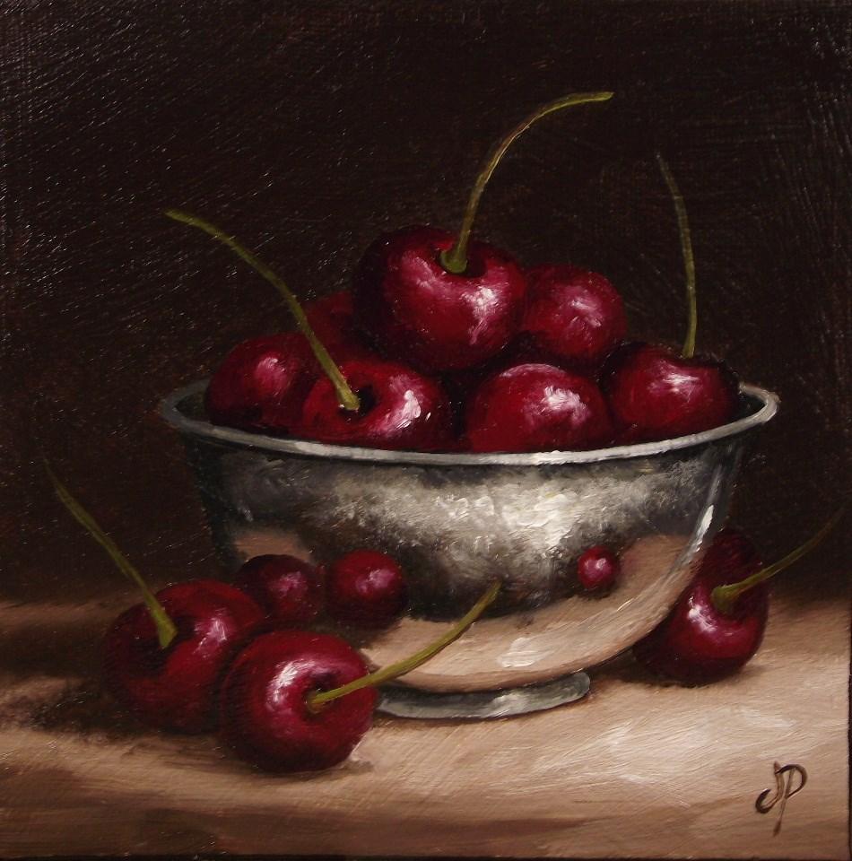 """""""Cherries in Silver #6"""" original fine art by Jane Palmer"""