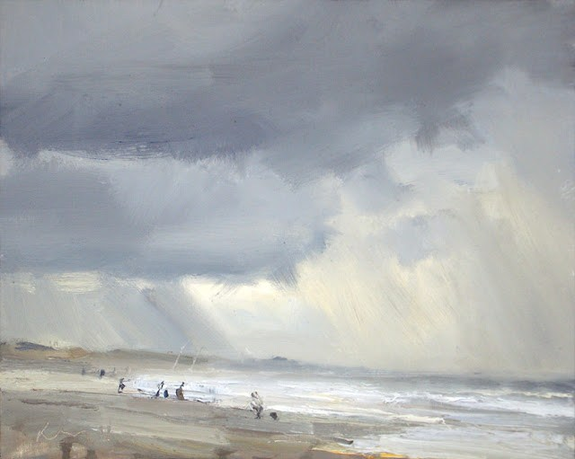 """Seascape winter # 13 Rain light upcoming tide"" original fine art by Roos Schuring"