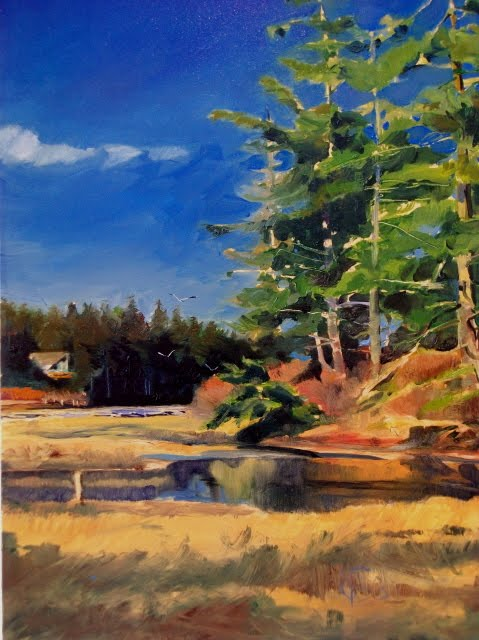 """Lagoon Beach  landscape oil painting"" original fine art by Robin Weiss"
