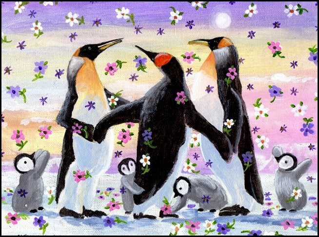 """Spring Emperor Penguins' Party"" original fine art by Patricia Ann Rizzo"