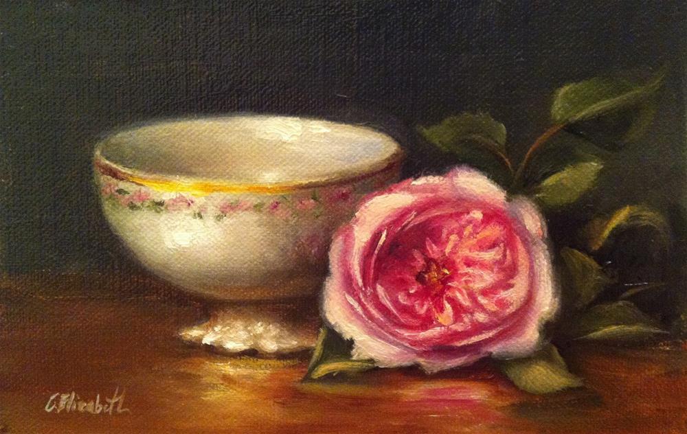 """""""Pink Rose and Porcelain Cup Still Life,  Oil on 4x6 Linen Panel"""" original fine art by Carolina Elizabeth"""