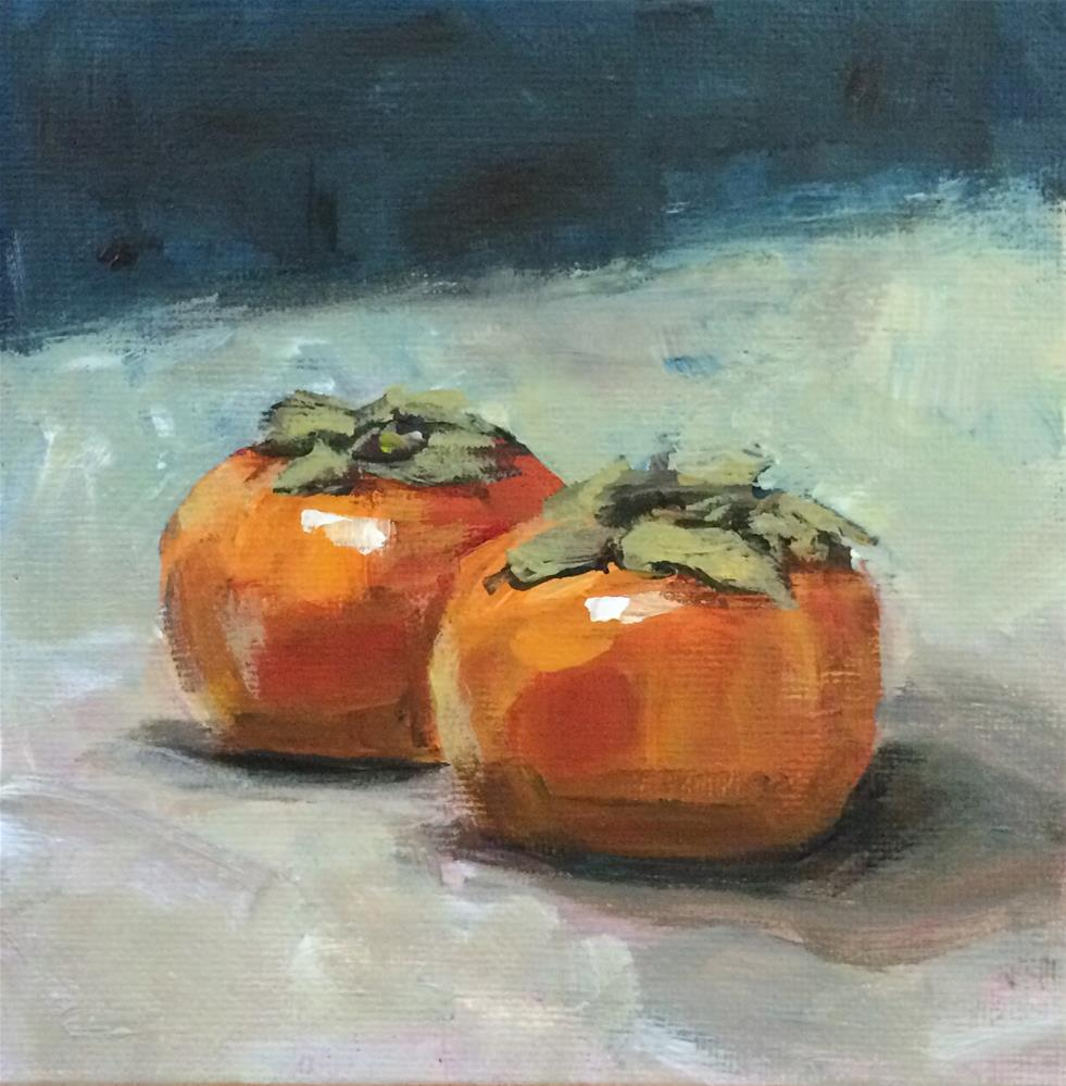 """Persimmons"" original fine art by Shannon Bauer"