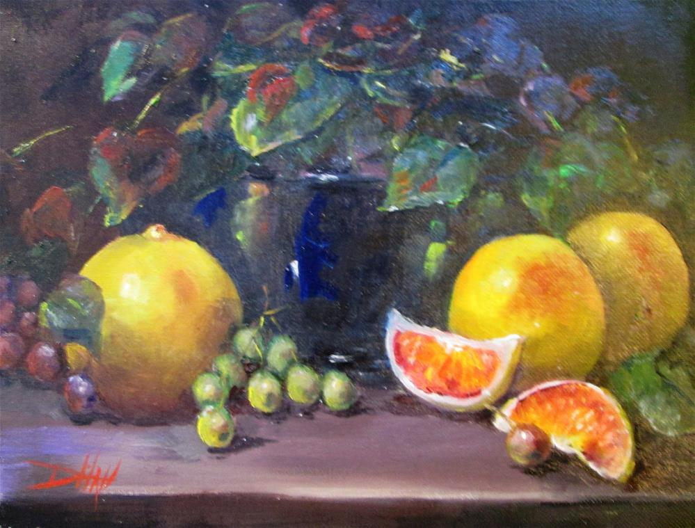 """""""Grapefruit and Grapes"""" original fine art by Delilah Smith"""