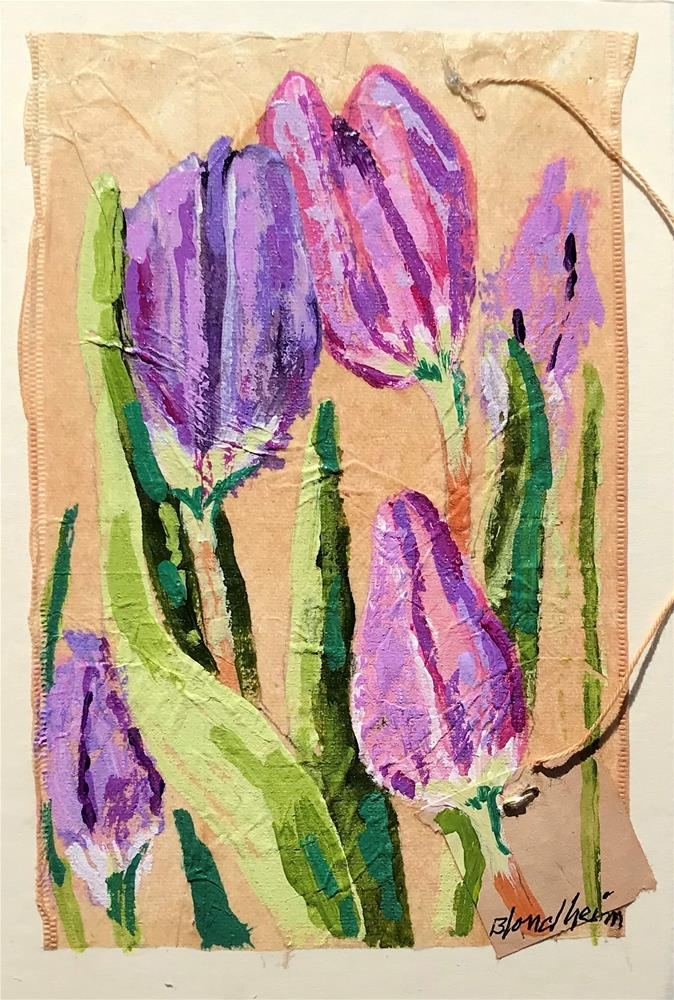 """Tea Bag Painting Tulips"" original fine art by Linda Blondheim"
