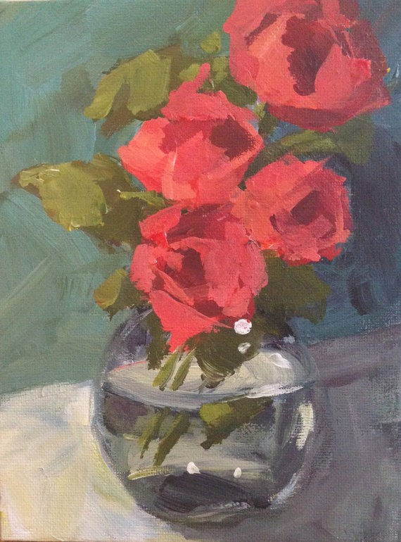 """Pink Roses in Glass"" original fine art by Shannon Bauer"