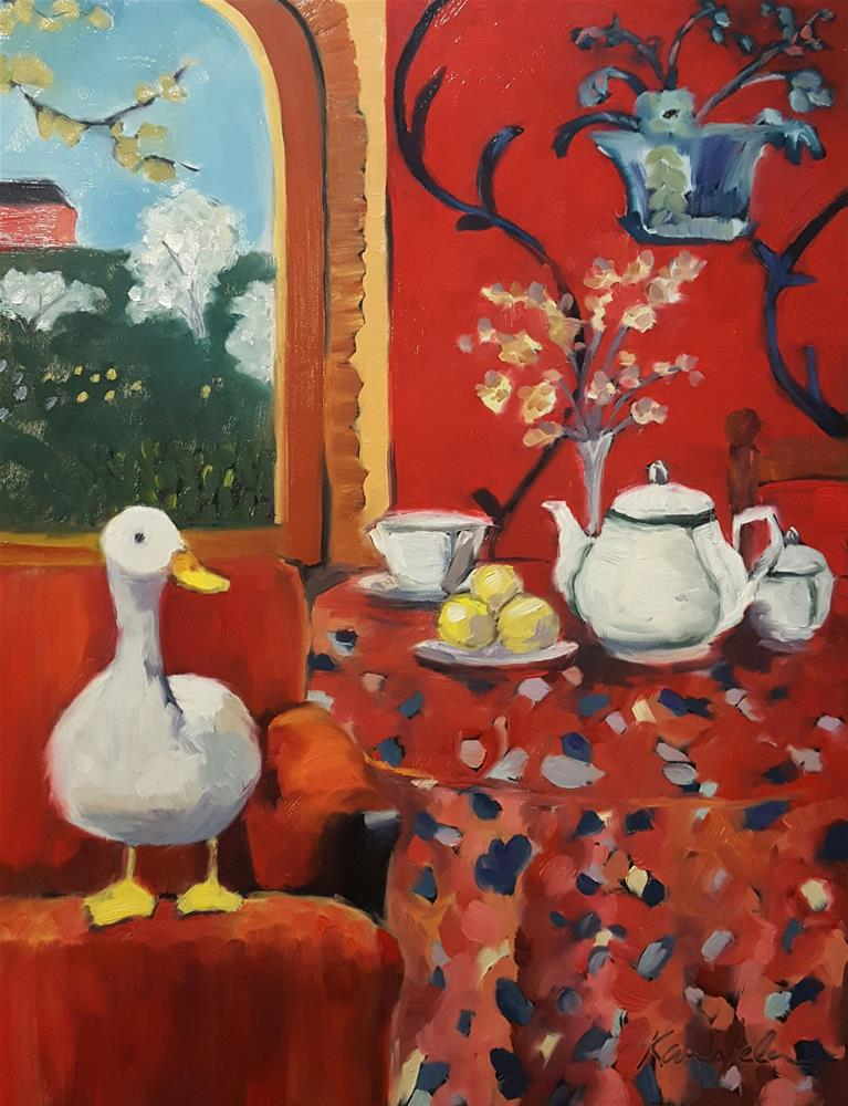 """""""The Duck : Harmony in red (The Red Chair)"""" original fine art by Karen Weber"""