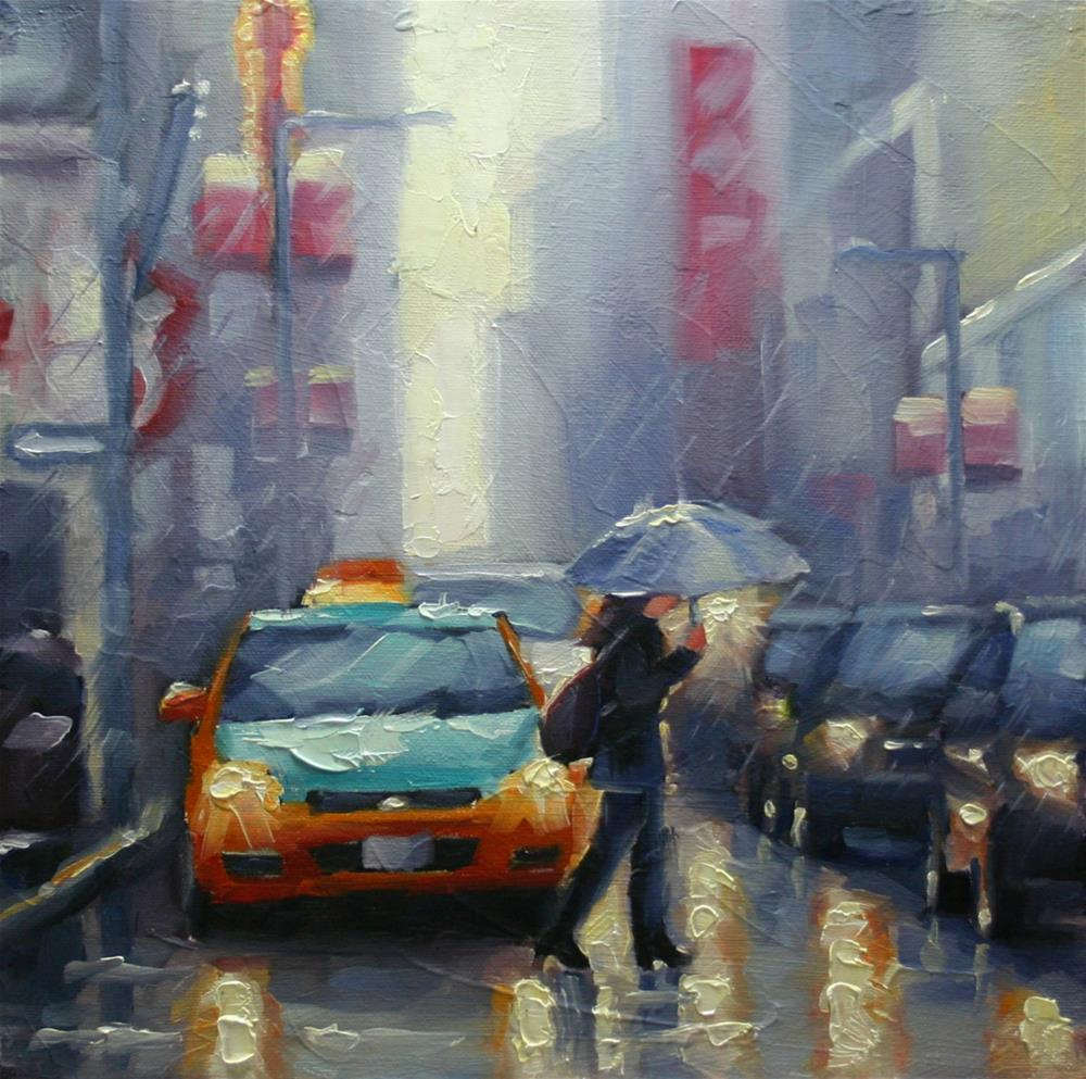 """Crossing Yonge Street in The Rain, Dundas Square"" original fine art by Catherine Jeffrey"
