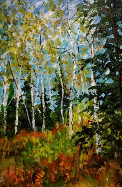 """2015 Yukon Aspens No. 1"" original fine art by Jackie Irvine"