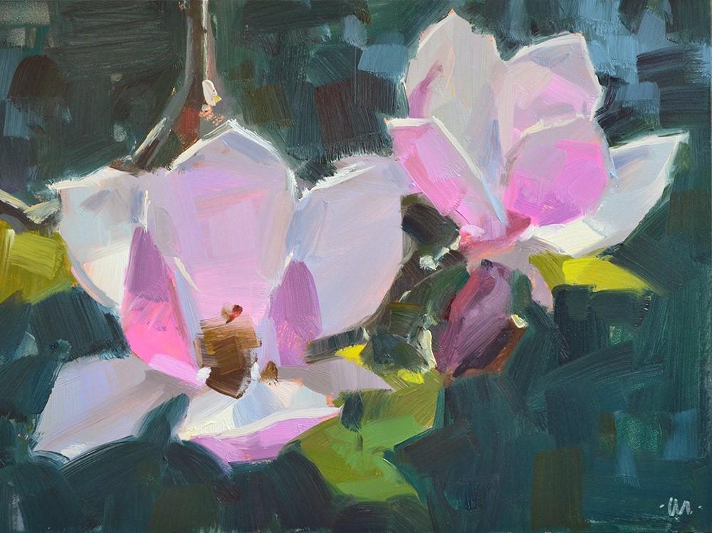 """Pink Magnolias"" original fine art by Carol Marine"
