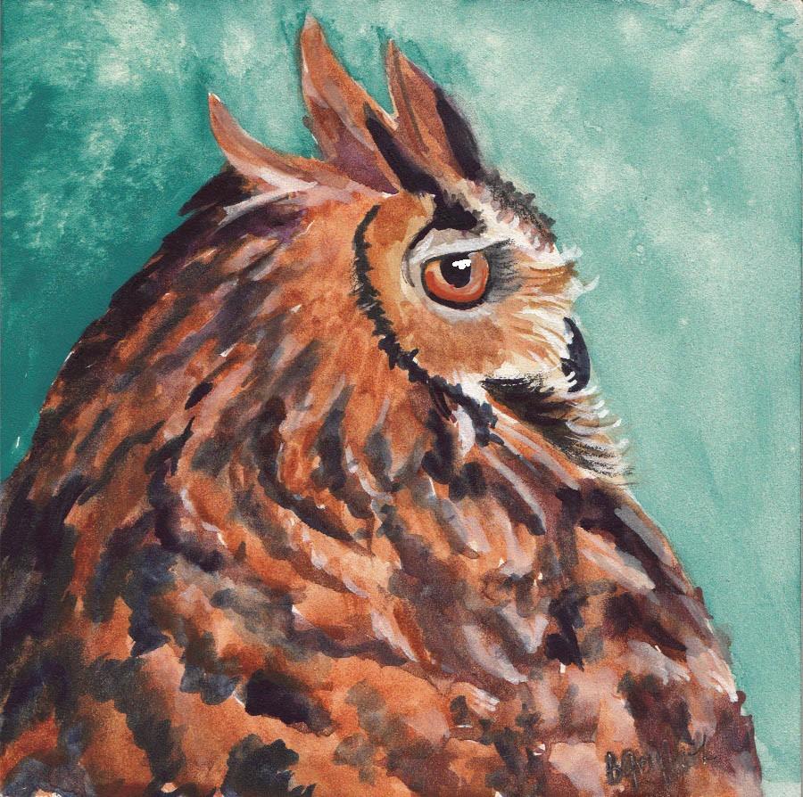 """""""OWL #1"""" original fine art by Bunny Griffeth"""