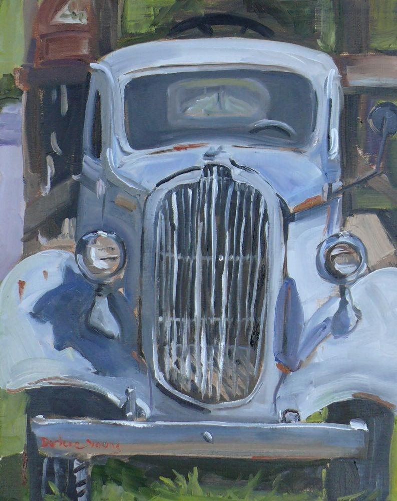 """Classic Truck, oil on luan, 11x14"" original fine art by Darlene Young"