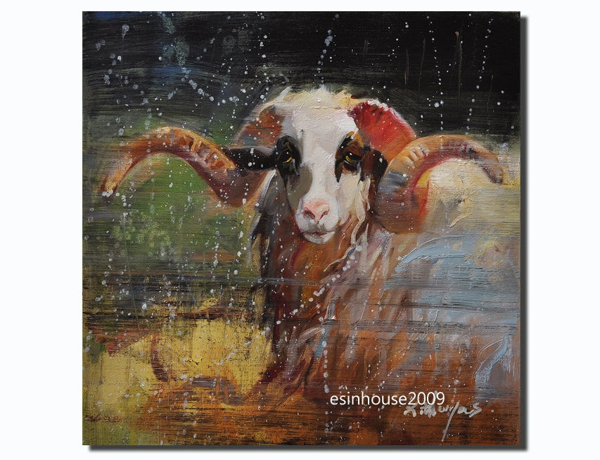 """Original oil acrylic painting 16 x16 canvas sheep goat Caprini Capra Ovis aries"" original fine art by Thomas Xie"