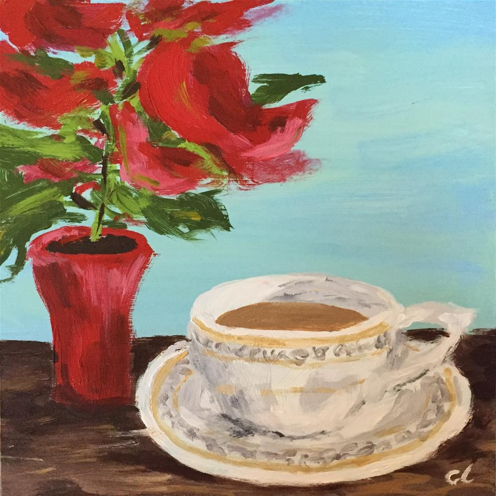 """""""Little Poinsettia and a cup of tea"""" original fine art by Cheree Apalona Lueck"""